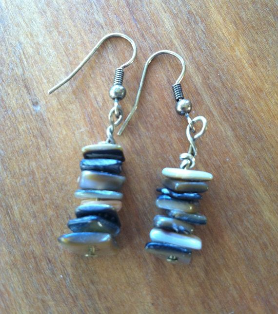 Earth Tones Stacked Shell Earrings by TripIntoLight on Etsy, $13.00