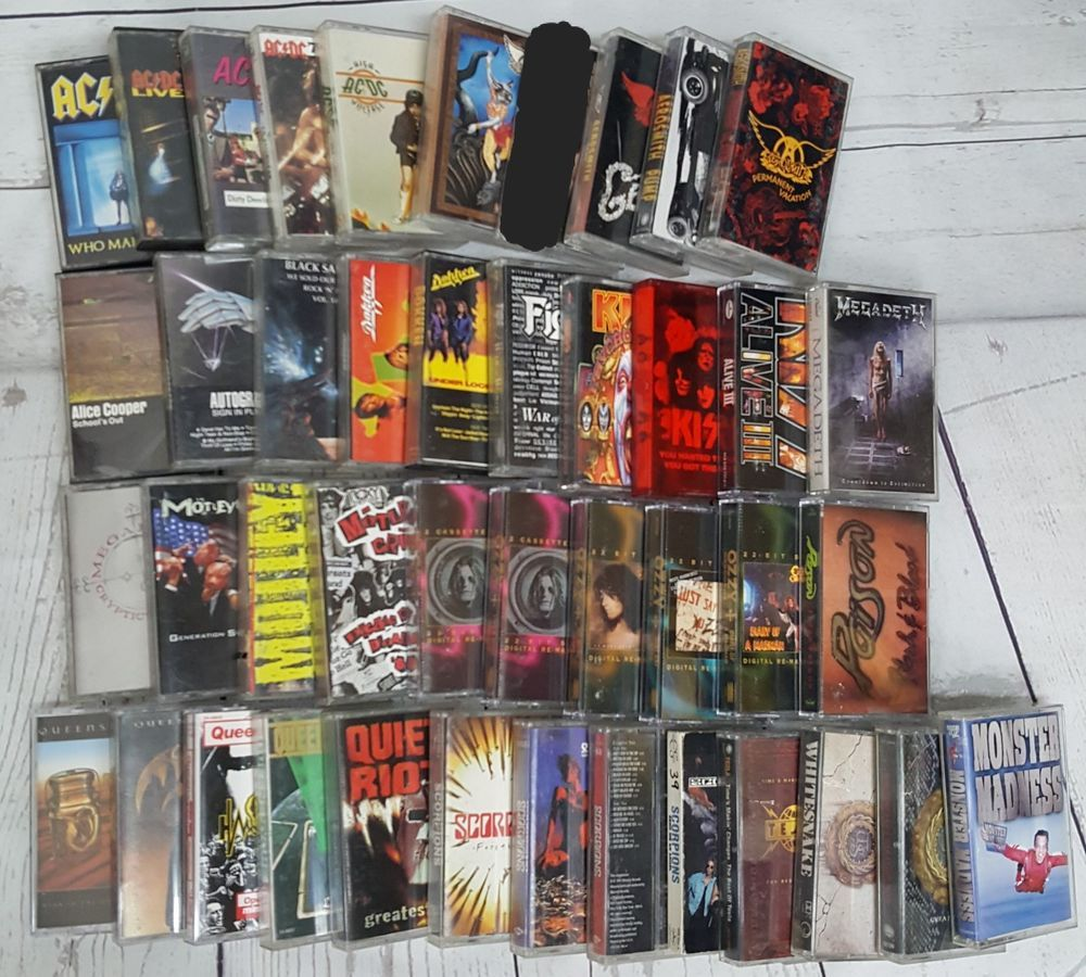 Lot Of 42 Cassette Tape 80s Hair Heavy Metal Hard Rock Acdc Kiss