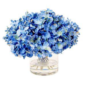 Hydrangeas in Water in Blue