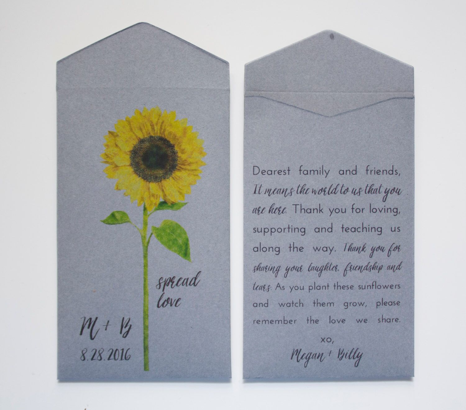 Sunflower Seed Packet Wedding Favor Envelopes - Many Colors Available by Megmichelle on Etsy https://www.etsy.com/listing/235943801/sunflower-seed-packet-weddin