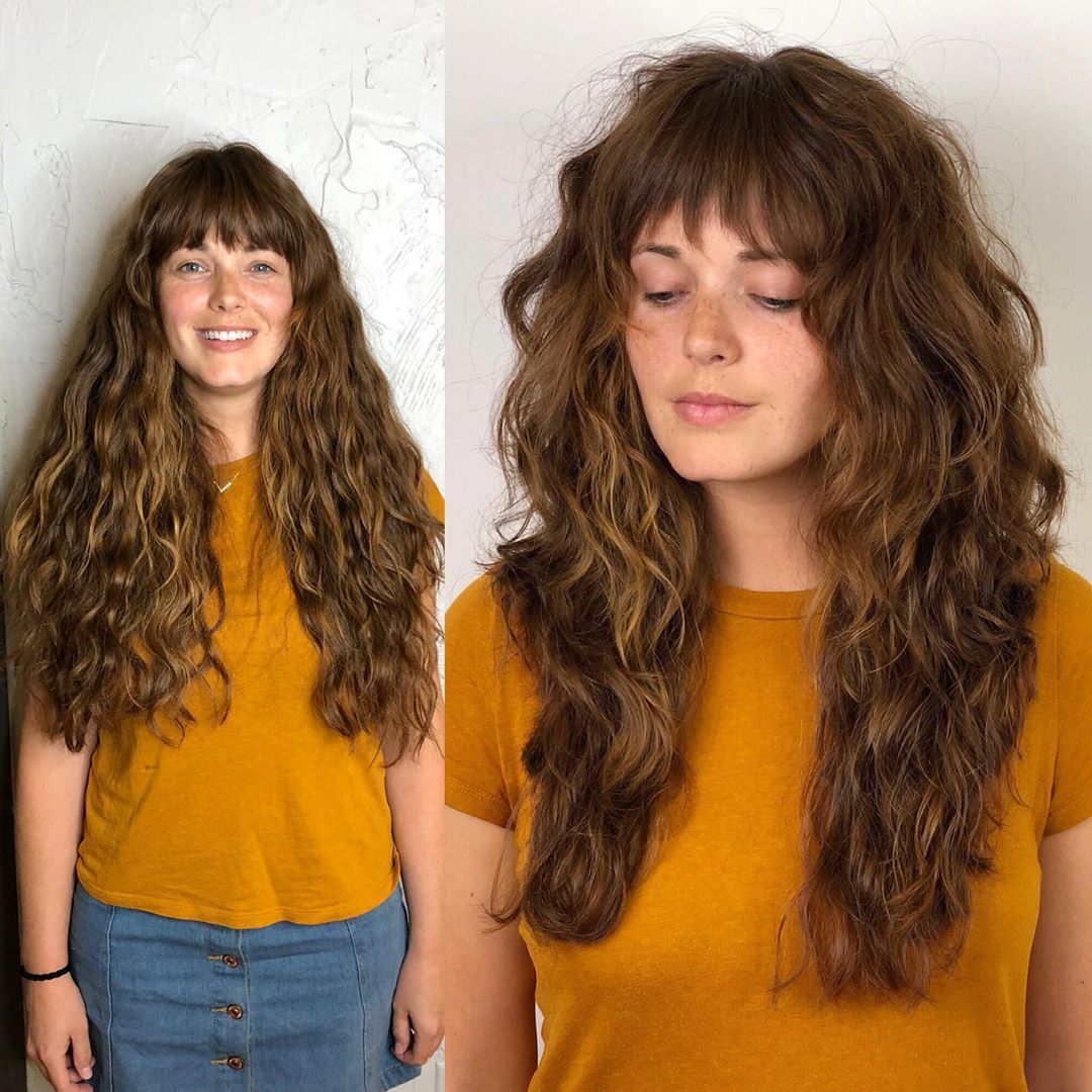 Skip Boman On Instagram A Modern Shag For The Beautiful Kelsey Hand Styled With A Diffus Long Layered Curly Hair Long Curly Haircuts Layered Curly Hair