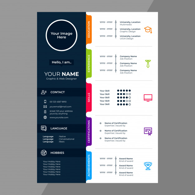 Cv Resume Design With Line Icons Graphic Design Resume Resume Design Creative Resume Design Free