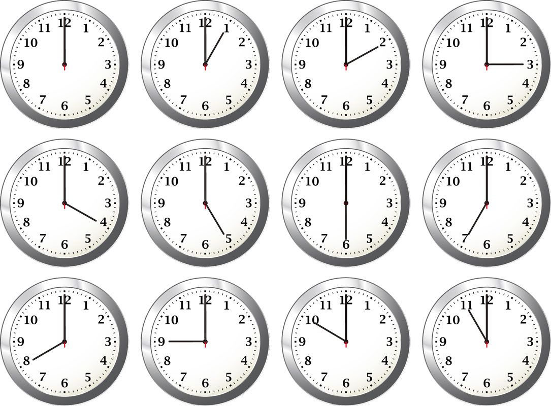 Clocks At Different Times Clipart Google Search Clock Template