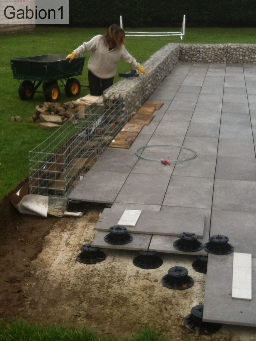 Gabion Patio Construction, Using 525mm Tall By 300mm Thick Gabions  Http://www