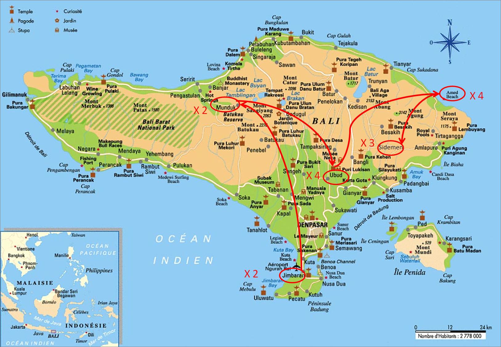 Carte Bali Lieux Touristique.15 Jours A Bali En Famille Que Faire Les 2 Pieds