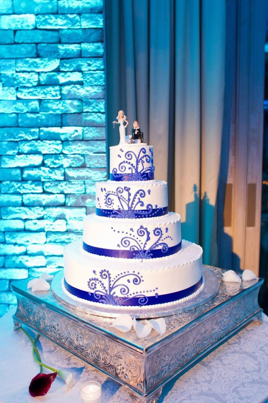 Purple wedding cake with piping designs my wedding in