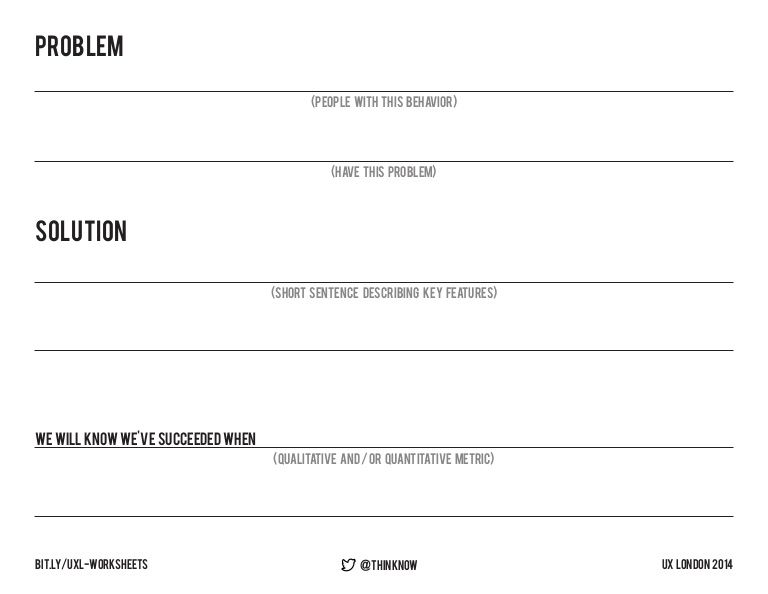 UX Worksheets Opportunity Statement, Persona 4x4 Design Thinking
