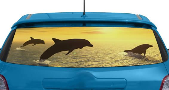 Dolhin car decals jumping dolphin see through car decal