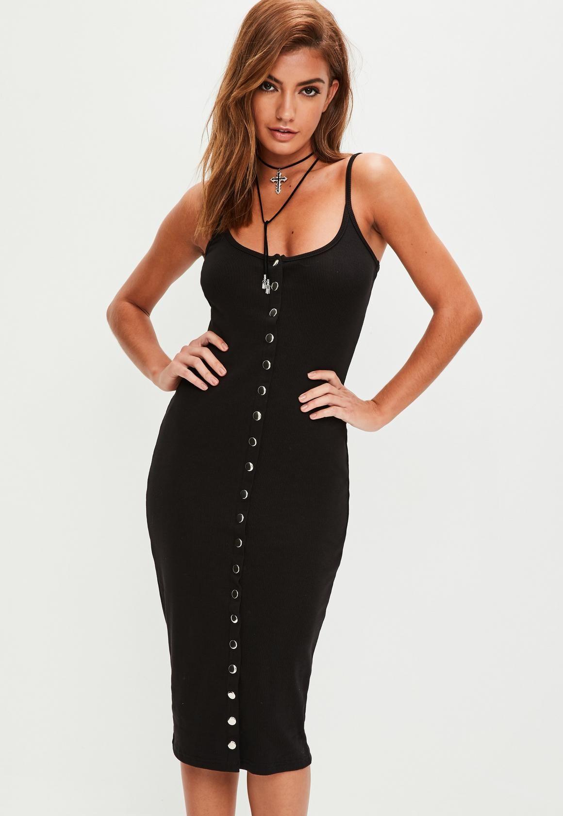 8f6e6d65 Black Strappy Ribbed Popper Midi Dress | Closet | Black midi dress ...