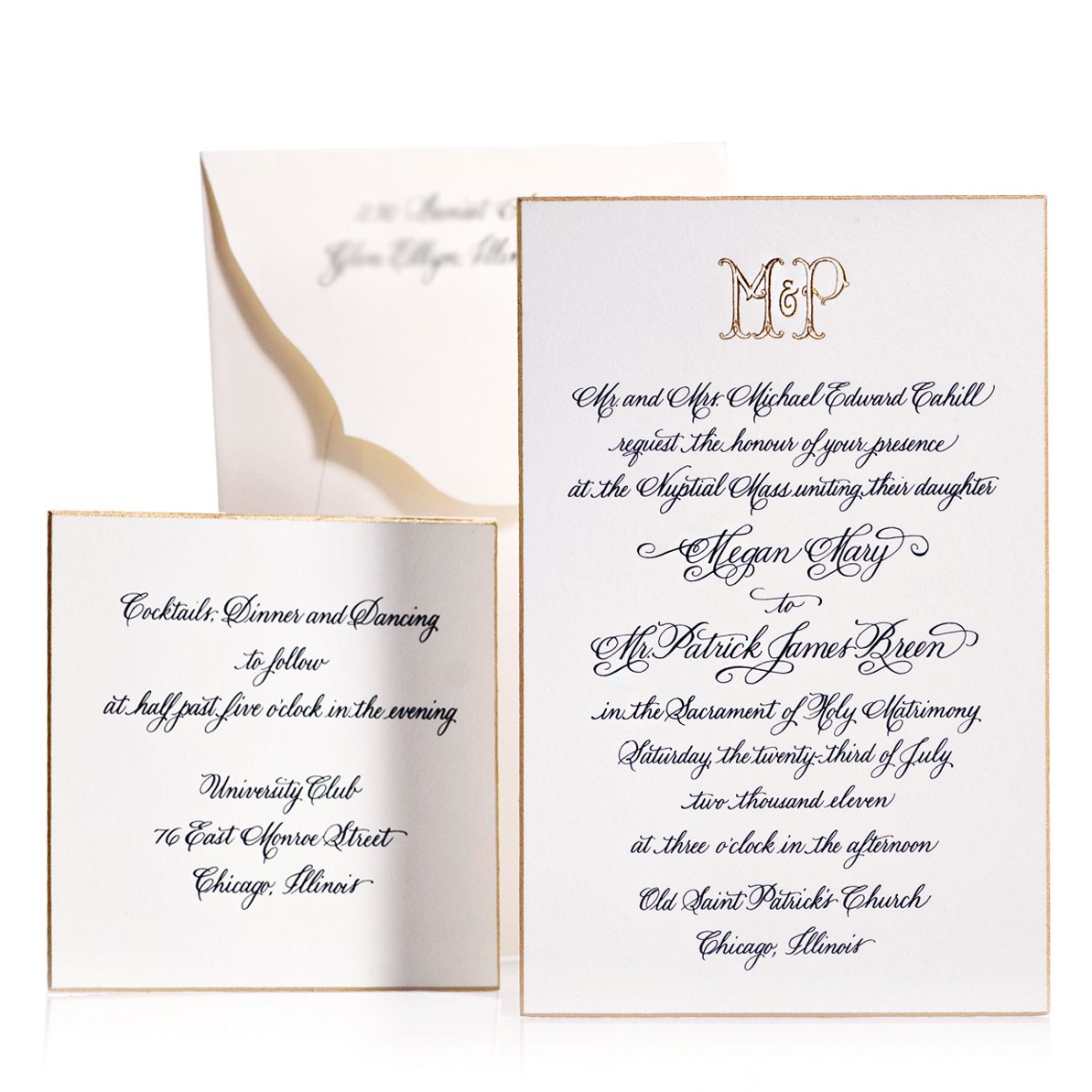 classic formal engraved wedding invitation with a proper wedding ...