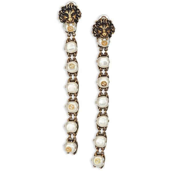 4b1842711 Gucci Women's Lion Head Faux Pearl Clip-On Drop Earrings - Antique...  (39.888.640 VND) ❤ liked on Polyvore featuring jewelry, earrings, gucci,  antique gold ...