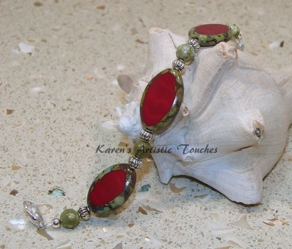 Red Cathedral Glass Tree Jasper Gemstone Beaded by ArtisticTouches, $14.00