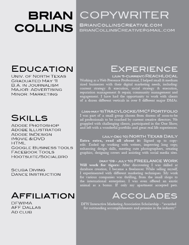 Pin By Brian Collins On Start Pinterview Here Copywriting Resume Advertising Channels