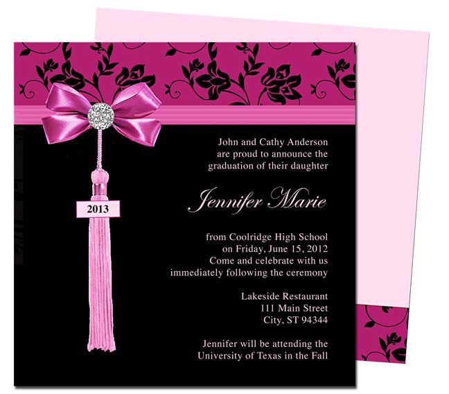 Graduation Announcements Templates  Feminine Style Design Bow