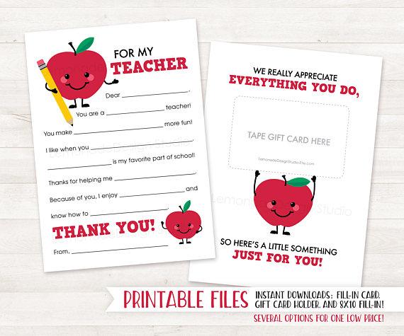 Printable Teacher Thank You Card End Of Year Teacher Gift Card