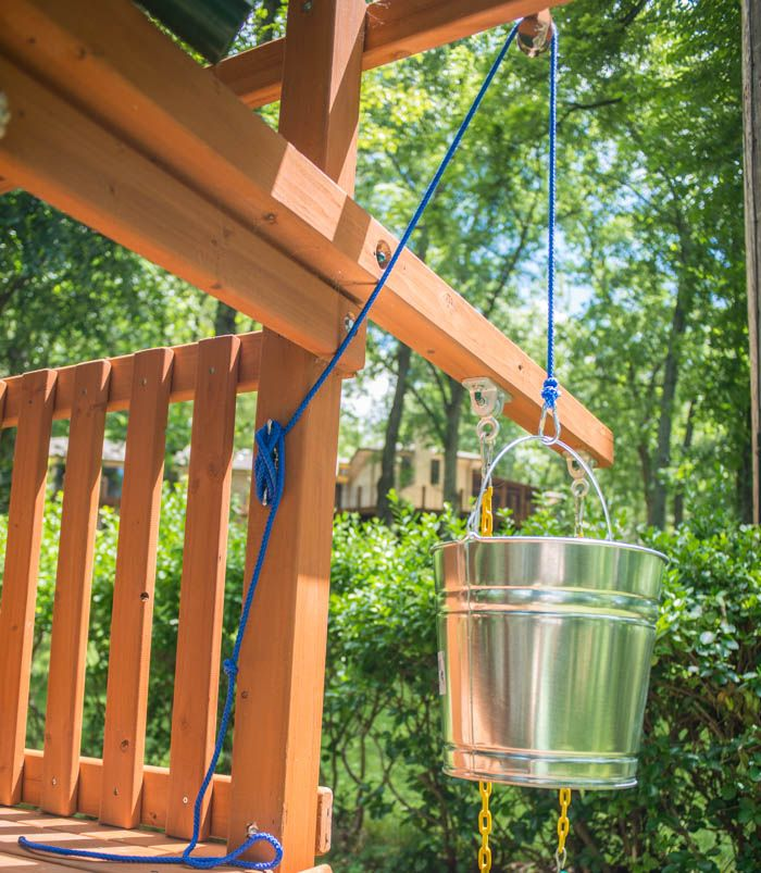 Add A Bucket With A Pulley To An Outdoor Playset In A Few