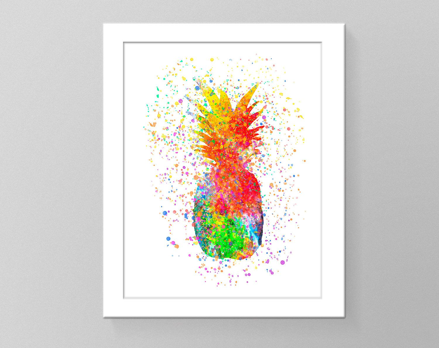 Watercolor Pineapple Printable Poster Modern Wall Art Tribal Wall Decor Kitchen Wall Decor Colorful Pinea Watercolor Pineapple Modern Wall Art Tropical Art
