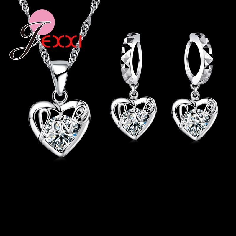 Classic Luxury 925 Sterling Silver Shinning CZ   Love Letter Heart Shape Necklace Earring Set Wedding Jewelry sets