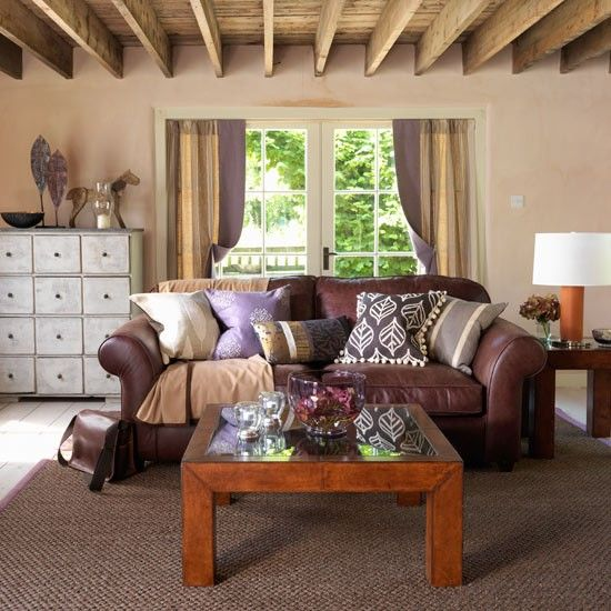 Country Style decorating | Brown leather couch living room, Living ...