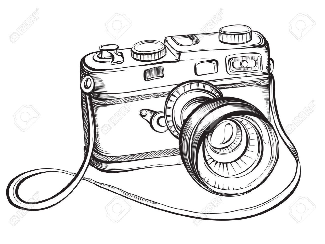 Camera hand drawn. Stock vector interests illustration