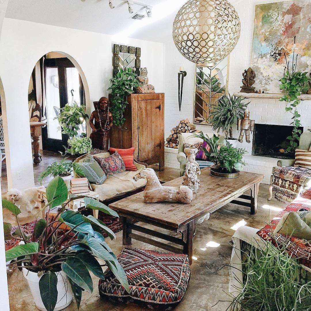 boho plant styling Bohemian living rooms, Bohemian