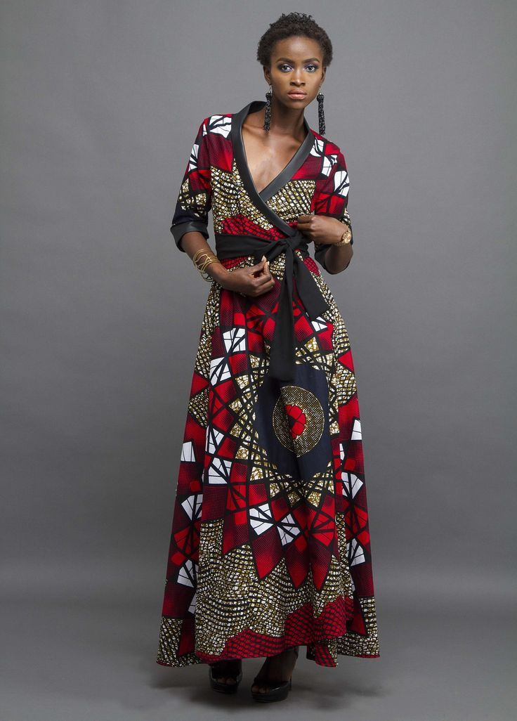 Black evening wrap dress with leather trim and African print #africanprintdresses