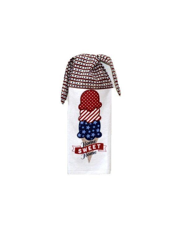 Summer Icecream   Americana Dish Towel Kitchen Hand Towel Tie On By  SuesAkornShop