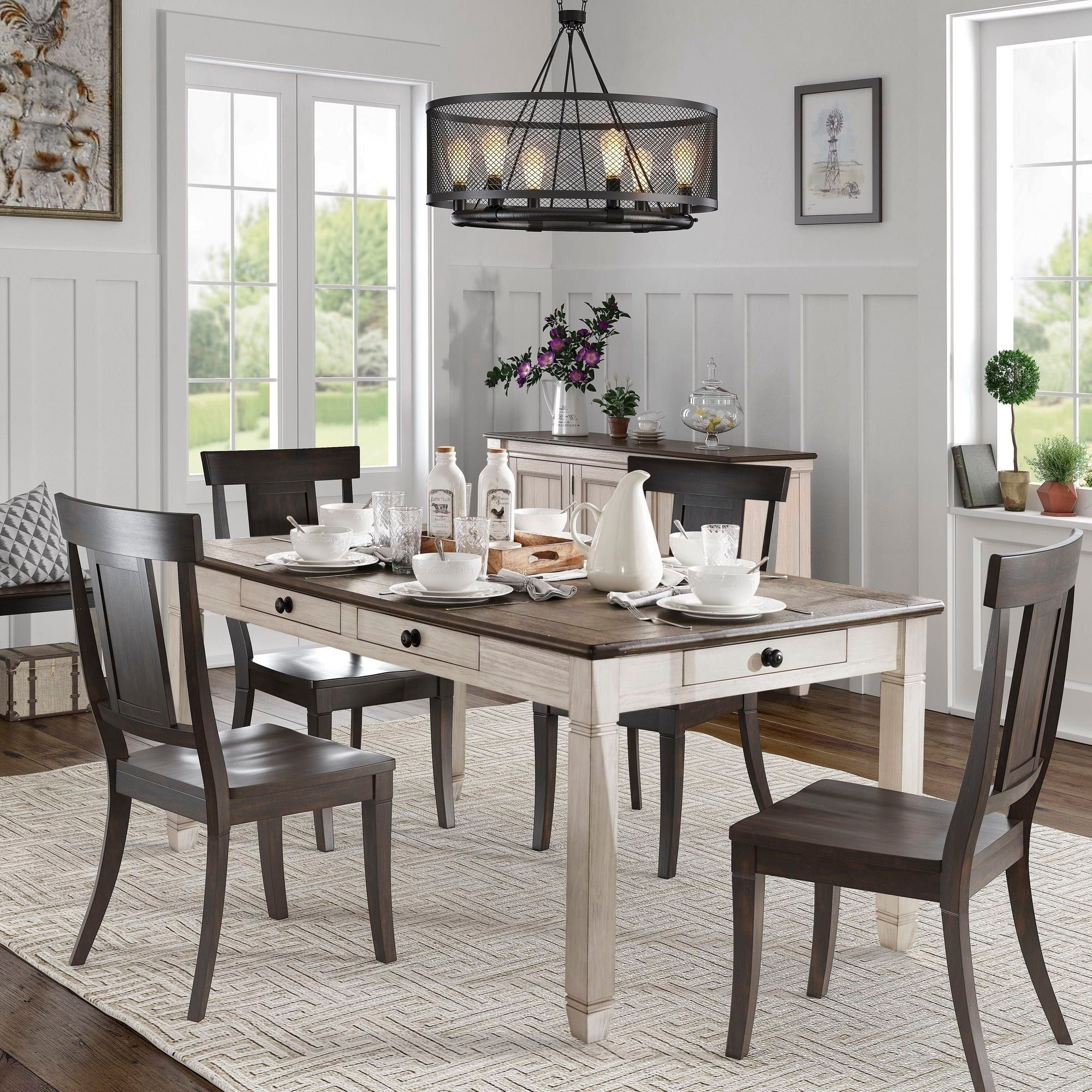 Eleanor Brown And Antique White Finish 5 Piece Dining Set By Inspire Q Classic In 2020 Dining Set With Bench Black Dining Room Furniture Dining Room Furniture