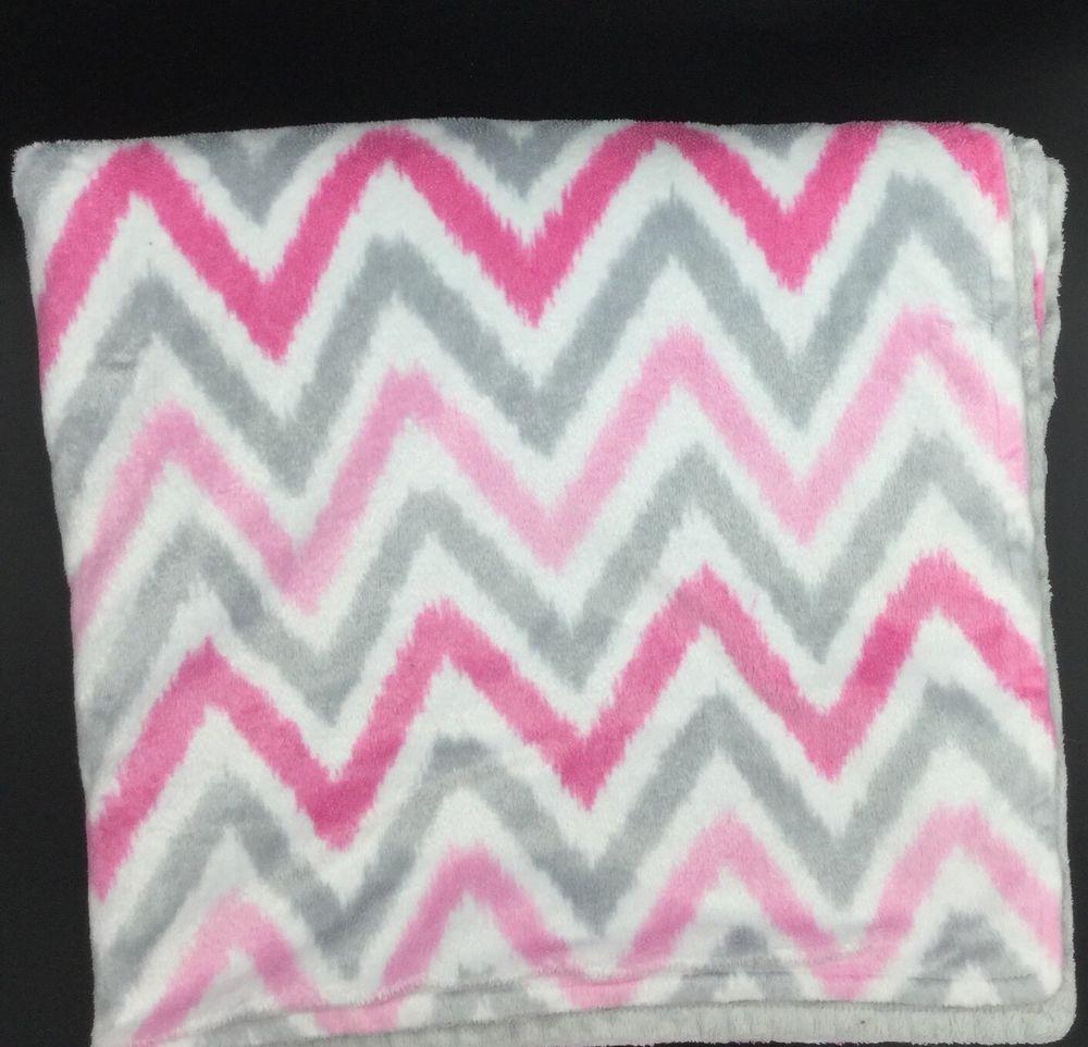 Target circo chevron zig zag pink grey white minky dot baby blanket