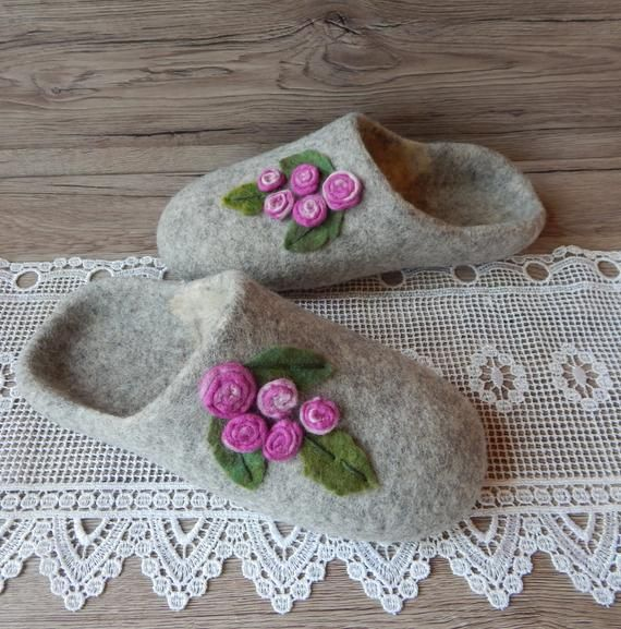 Photo of Felted wool gray slippers with roses for women Woolen boiled eco-friendly house shoes Organic warm c