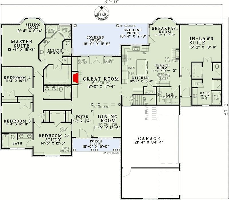 Open Living with In-Law Suite - #living #suite - #HousePlans