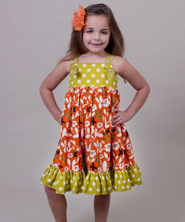 3102d4859c7 Take a look at this Orange   Green Maple Bella Knot Dress - Toddler   Girls  by Jelly the Pug on  zulily today!