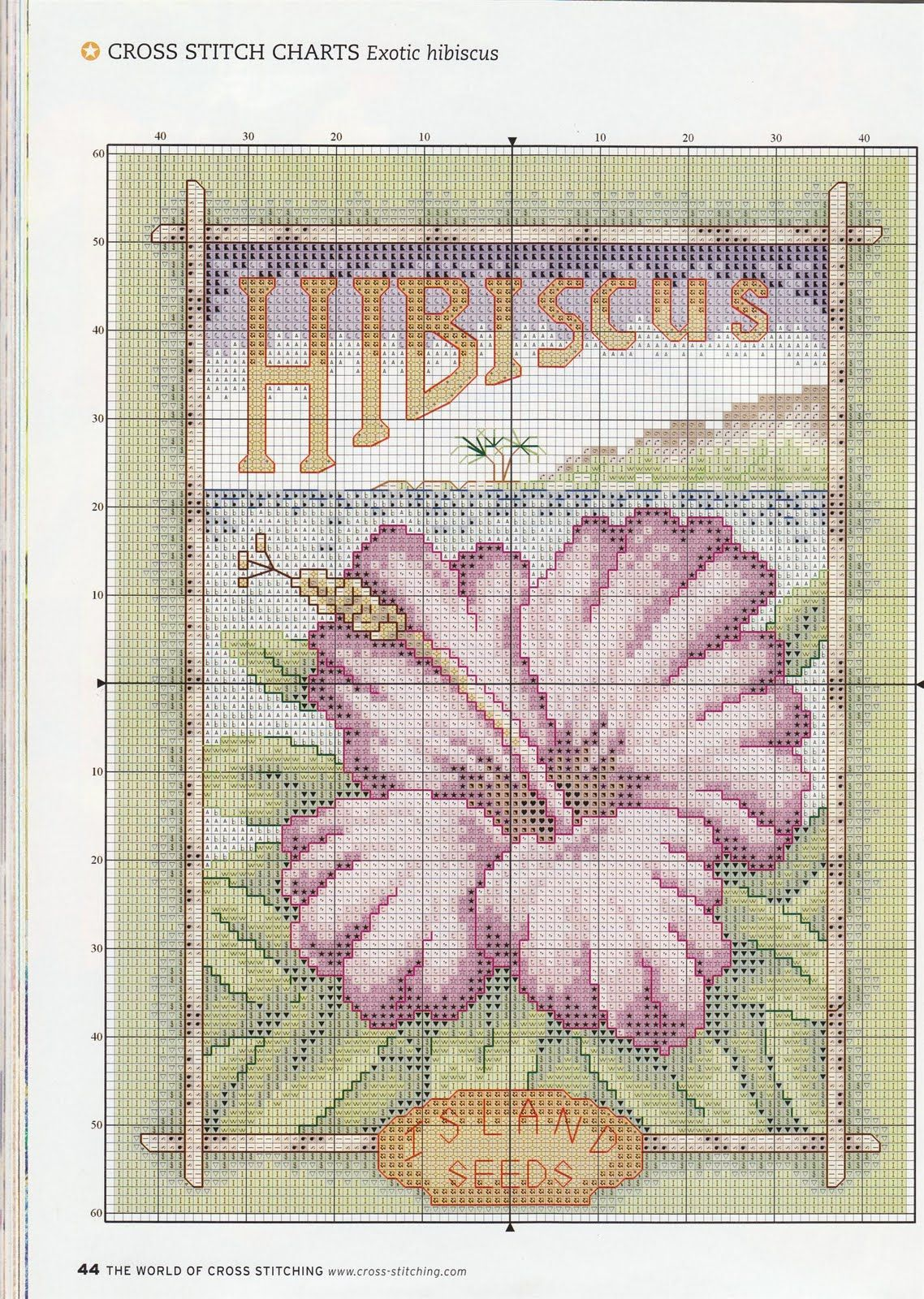 natty's cross stitch corner: Exotic Hibiscus - free