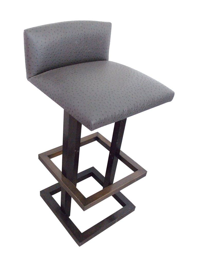Ostrich Leather Stool Upholstered Stool Modern Bar Stools