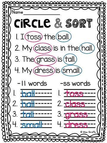 Double Consonants -ll -ss -zz -ff Worksheets & Activities {NO PREP ...