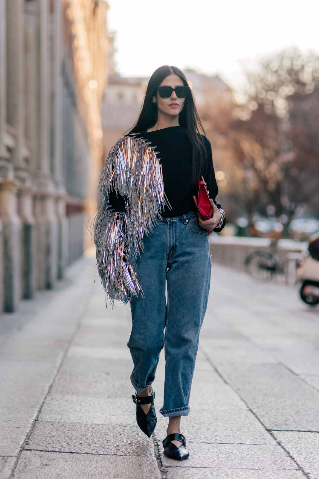 Gilda Ambrosio wearing a Loewe sweater and Celine shoes ...