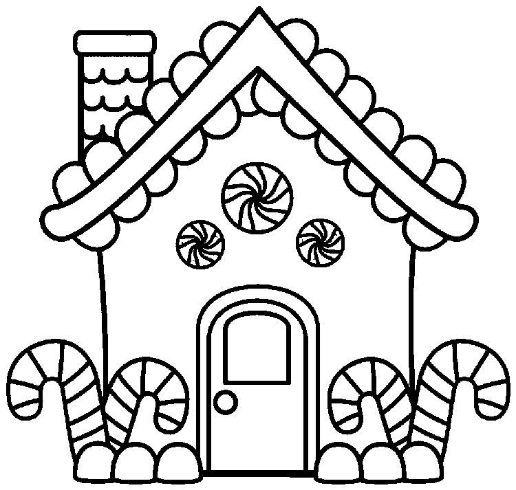 Gingerbread House Coloring Pages With Candy Cane Free Christmas