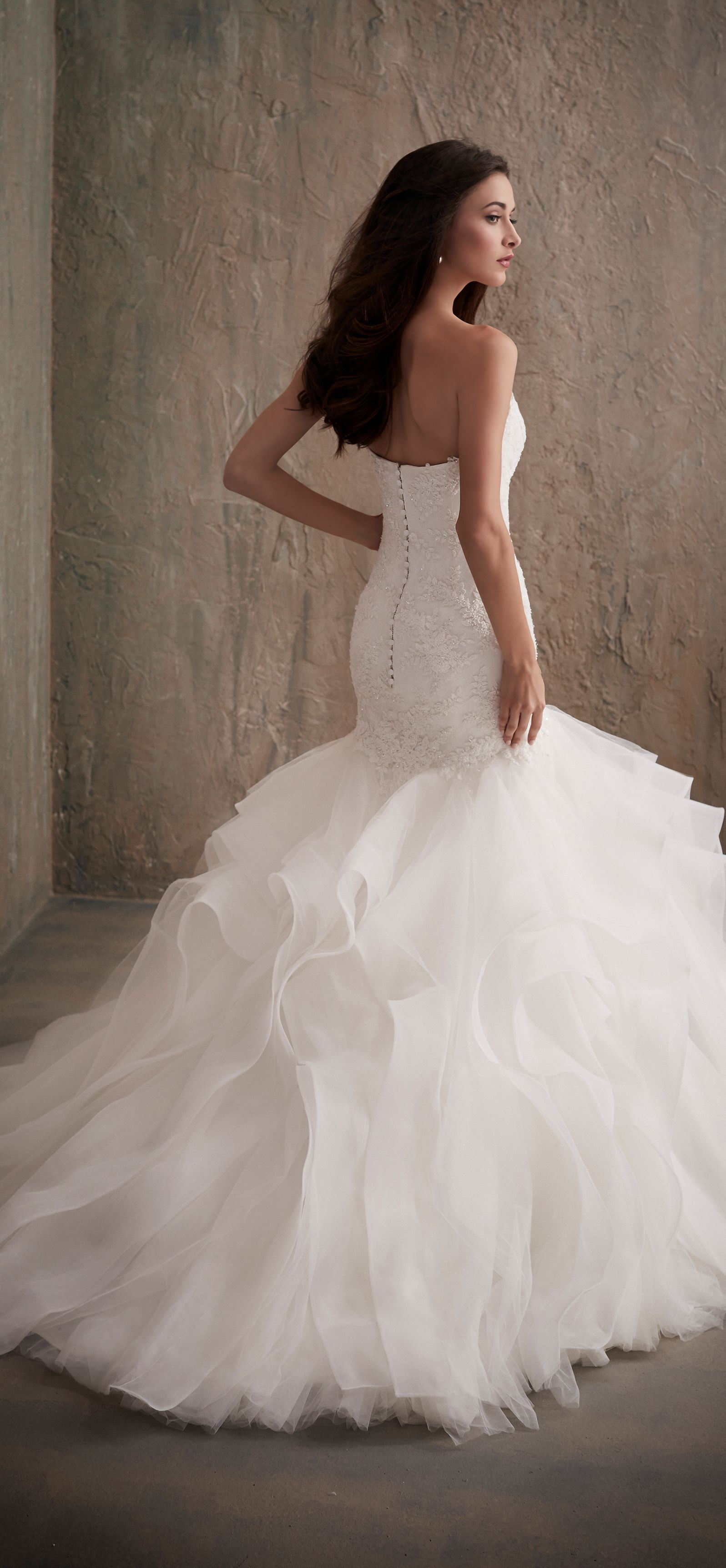 Beaded lace mermaid wedding dress with tulle organza skirt wd