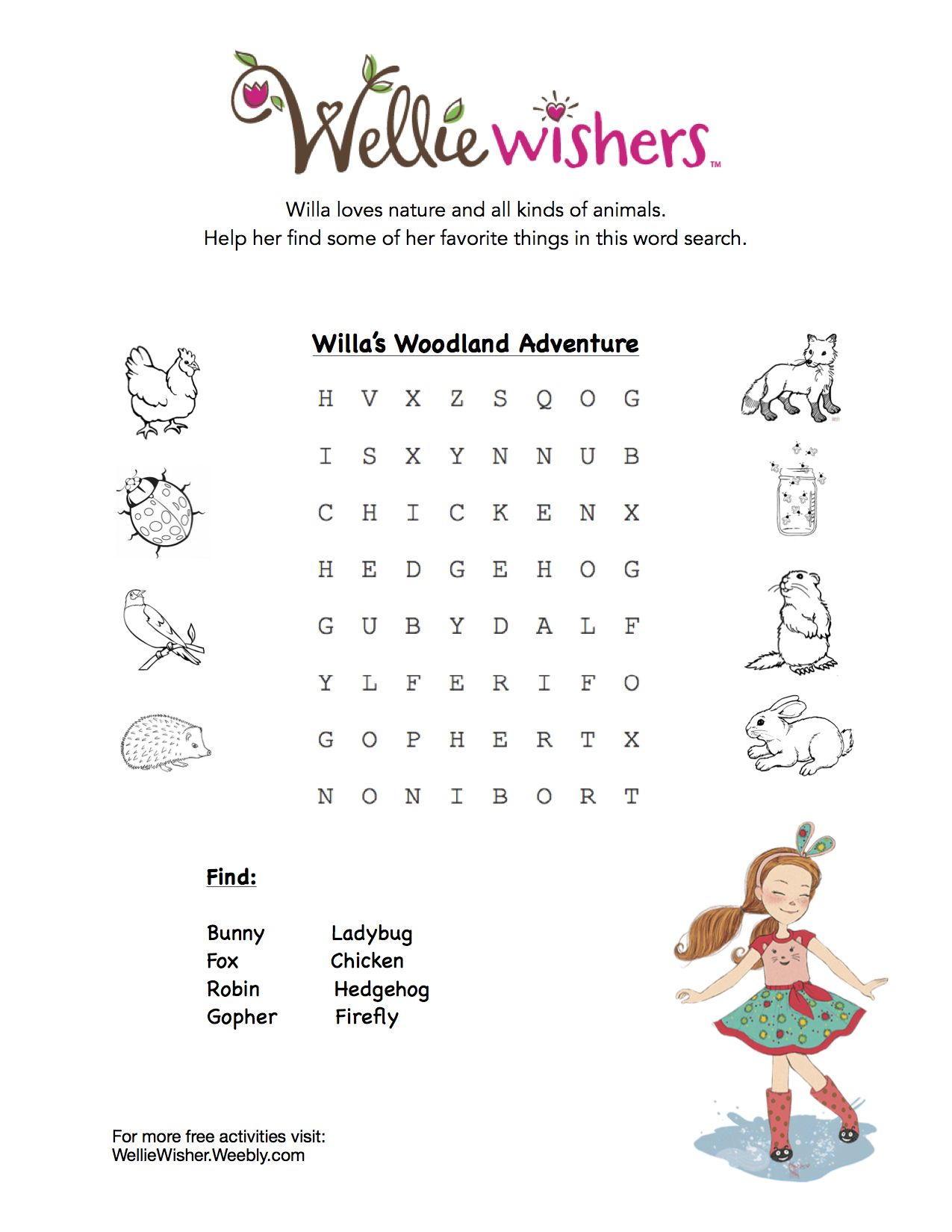 Free Wellie Wisher activity pages