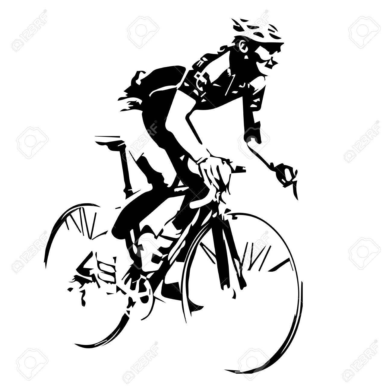 Cyclist Vector Silhouette Spon Cyclist Vector