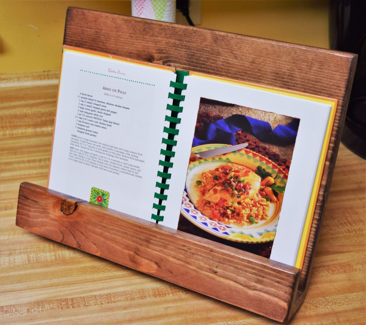Cookbook Stand; Kitchen Decor; Wooden IPAD Stand; Recipe Stand; Tablet Stand  By