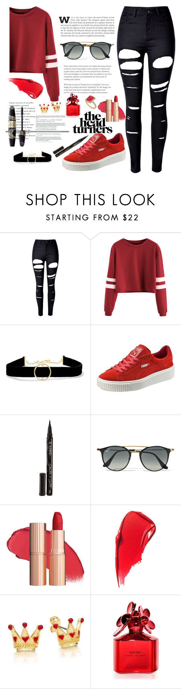 """Varsity"" by justinbieber-zaikara on Polyvore featuring WithChic, Anissa Kermiche, Puma, Smith & Cult, Ray-Ban, Marc Jacobs, Allurez and Max Factor"