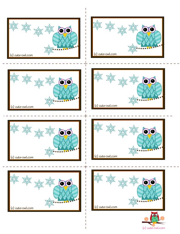 free labels printable | owl and snow flakes free printable ...