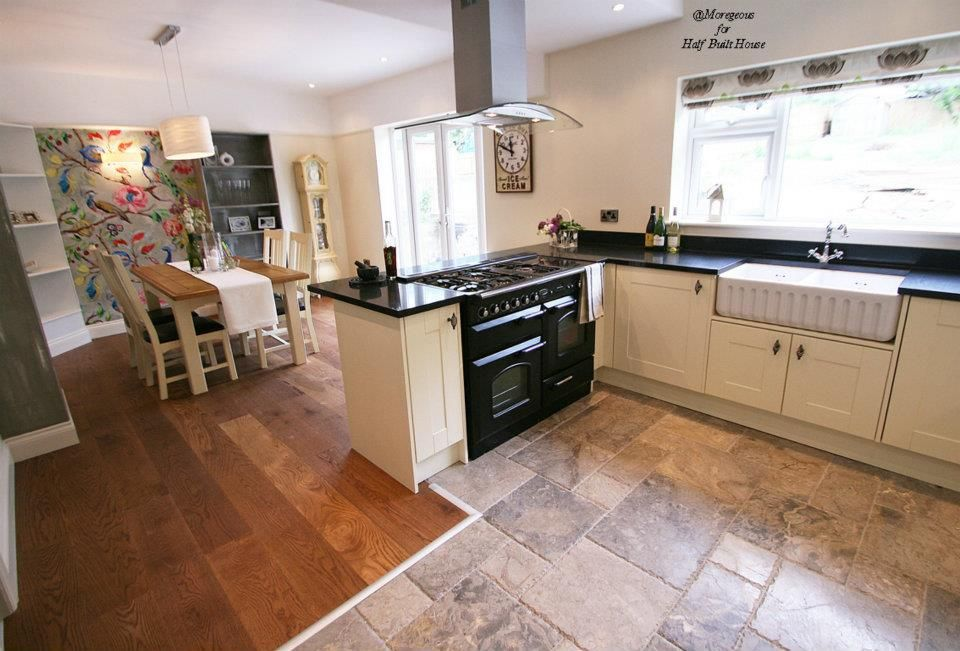 Amazing Kitchen Diner Flooring Ideas Part - 5: Eastbourne : Large Kitchen Diner With Marble And Harvest Oak Timber Flooring,  Cream Shaker Cabinets