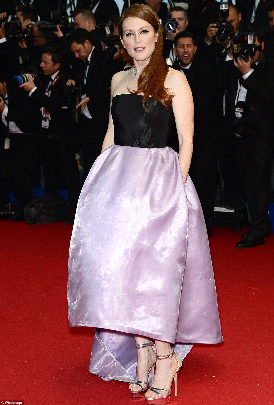Julianne moore opted for a larger gown in a lilac coloured satin