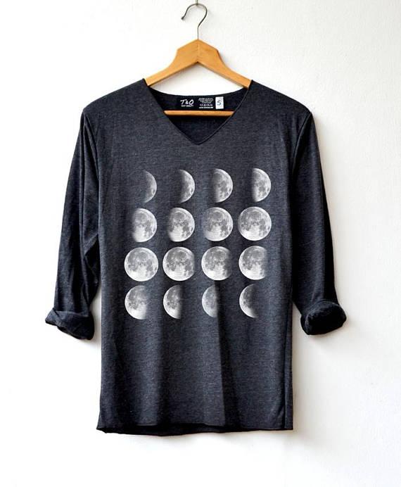 c786b5a0195d Moon Phase Shirt - Moon Shirt Moon night T-Shirt Long Sleeve High Quality Graphic  T-Shirts Unisex