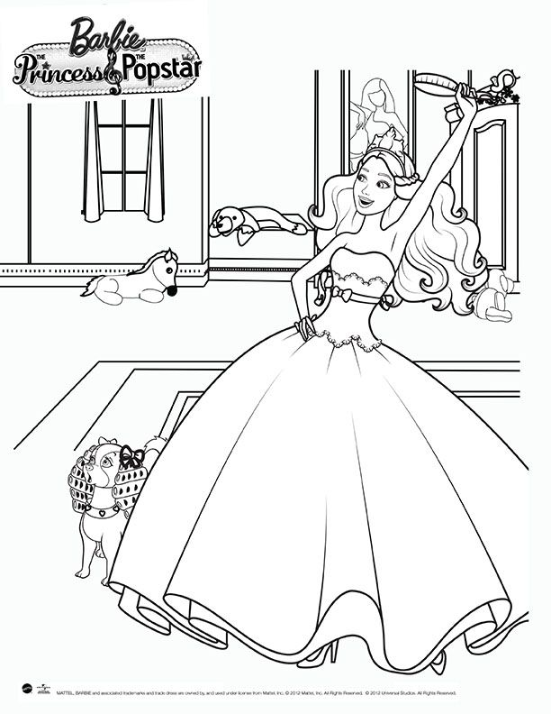 barbie coloring page  the princess and the pop star