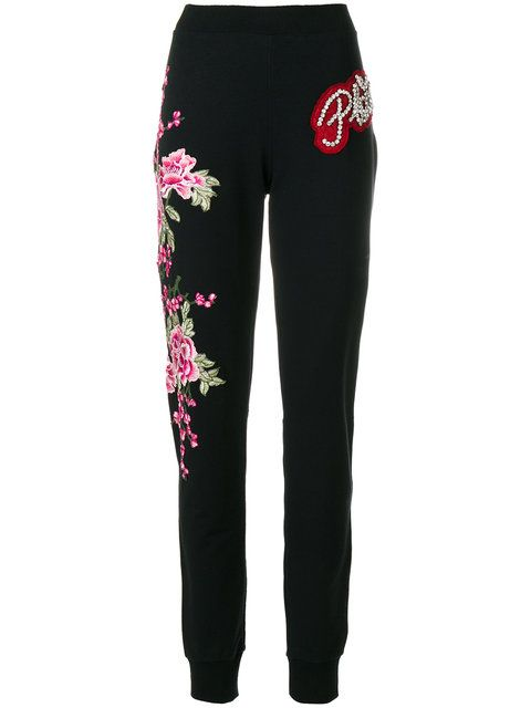 Sweatpants with roses patch Philipp Plein bF1hcqu7f