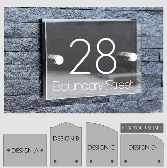 Modern outdoor house number sign plaque street designer door aluminium plate glass effect acrylic stand off