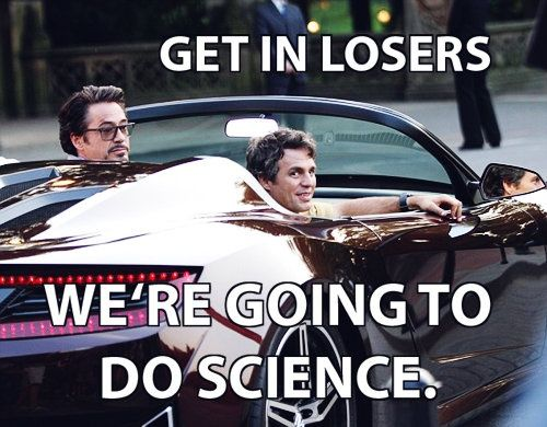 Get in losers. We are going to do science. - Robert Downey, Jr. and Mark Ruffalo in a sports car look like theyre waiting for you.